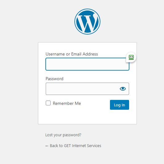 Wordpress login page screenshot