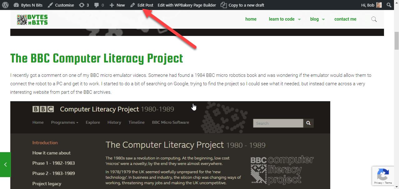 Edit page link in WordPress