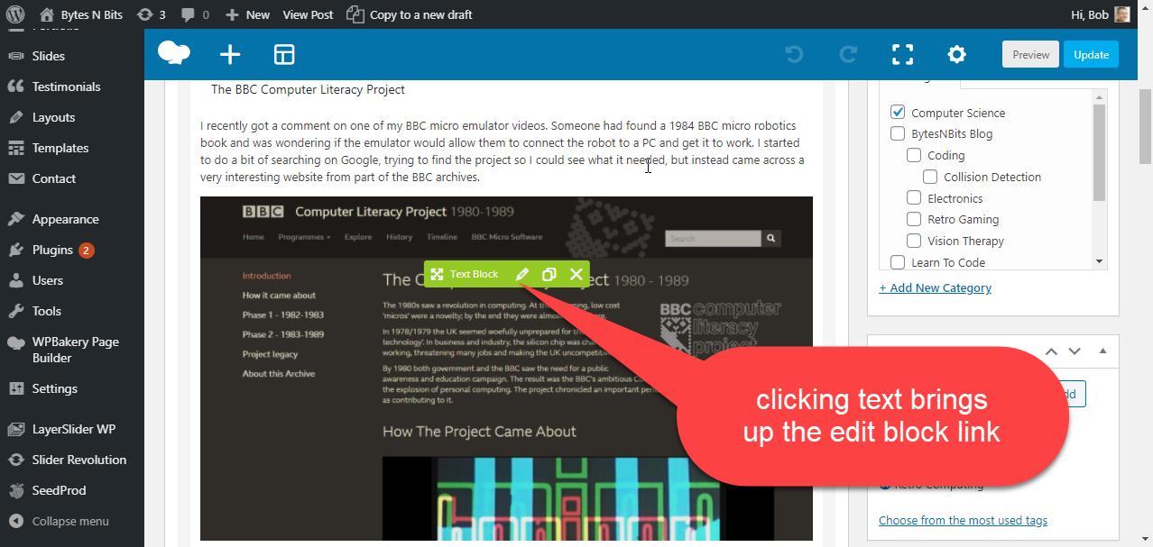 Editing text in WordPress
