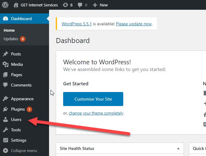 Wordpress user menu option